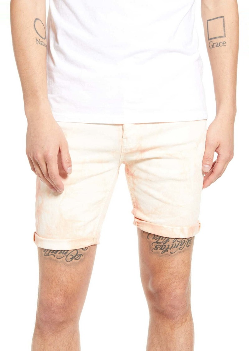 Topman Skinny Fit Acid Wash Denim Shorts