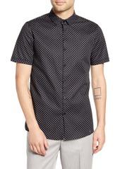 Topman Slim Fit Dot Print Short Sleeve Button-Up Sport Shirt
