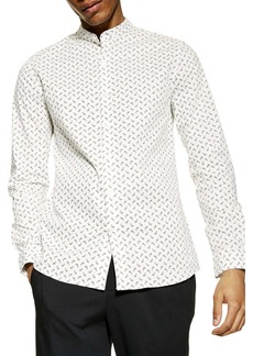 Topman Slim Fit Paisley Band Collar Shirt