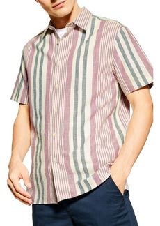 Topman Slim Fit Stripe Short Sleeve Button-Up Shirt