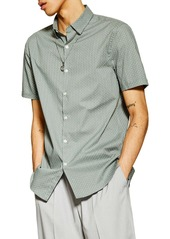 Topman Stretch Skinny Fit Geometric Short Sleeve Button-Down Shirt