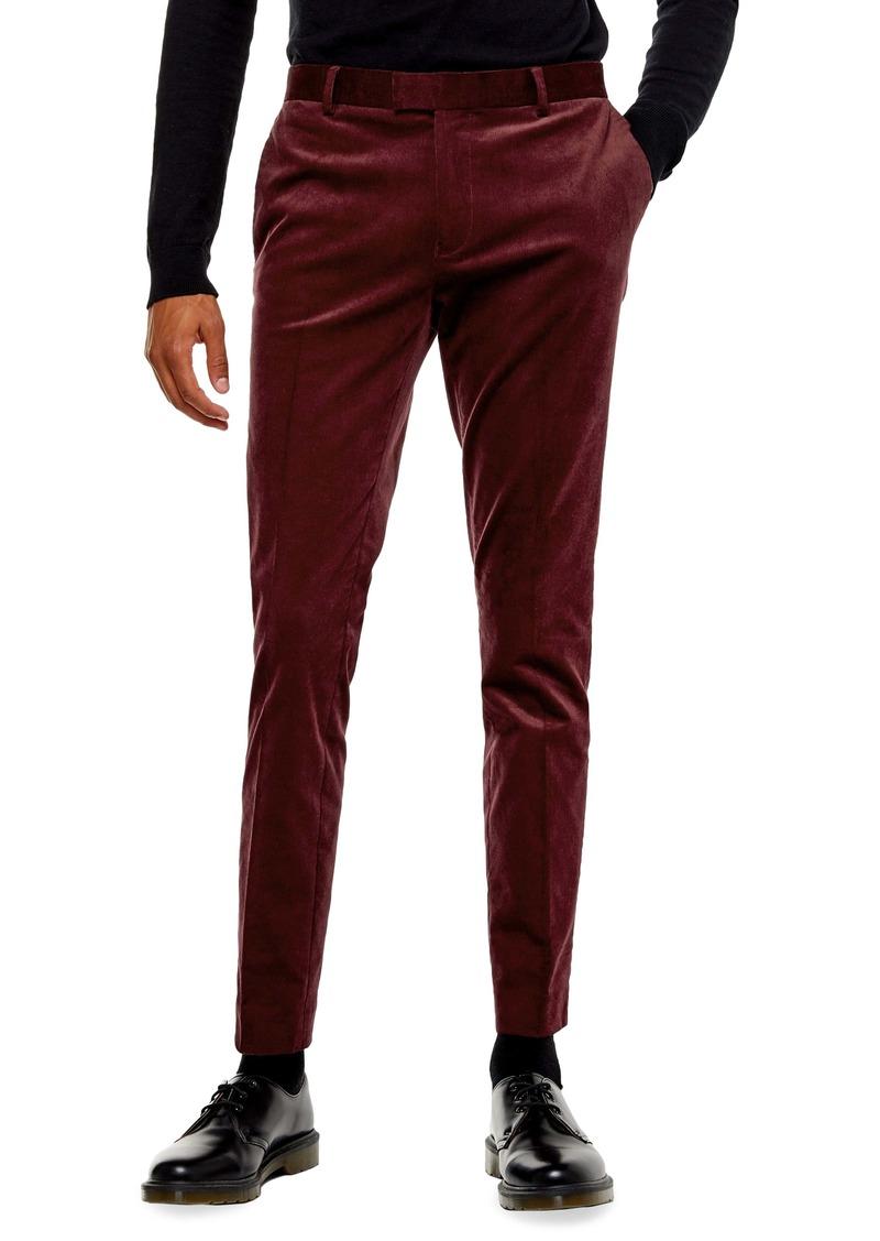 Topman A-List Skinny Fit Velveteen Trousers