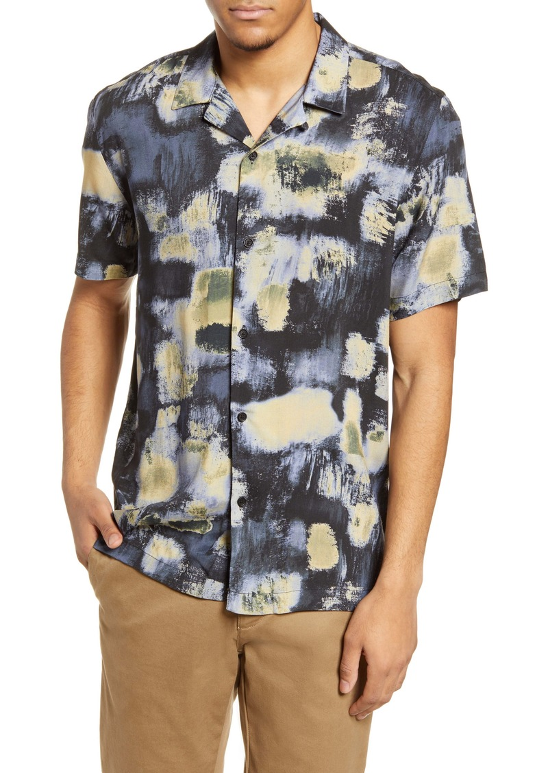 Topman Abstract Button-Up Camp Shirt