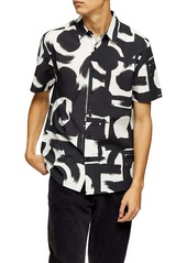 Topman Abstract Short Sleeve Seersucker Button-Up Shirt