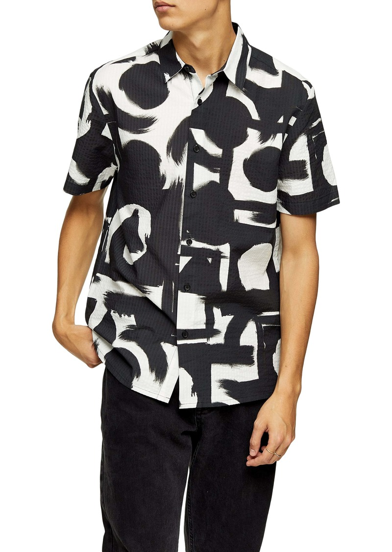 Topman Abstract Short Sleeve Seersucker Button-Up Shirt