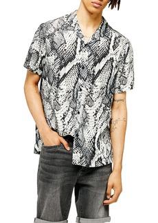 Topman Animal Print Regular Fit Button-Up Shirt
