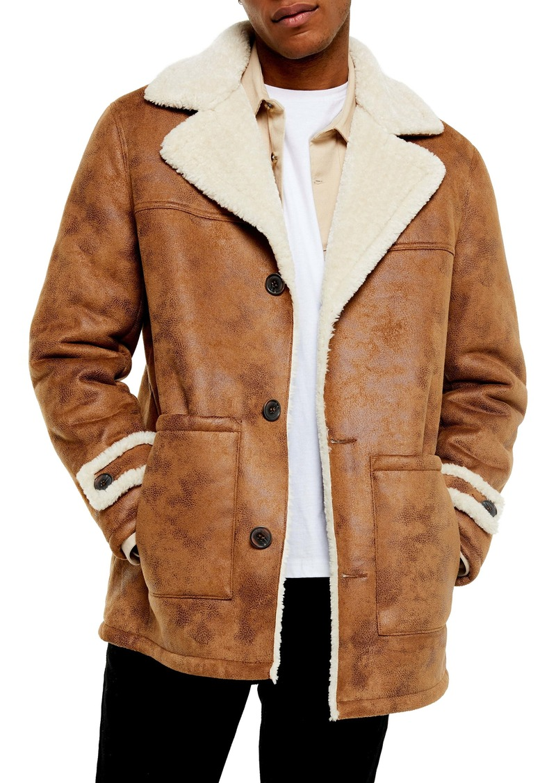 Topman Aviator Classic Fit Faux Shearling Lined Coat