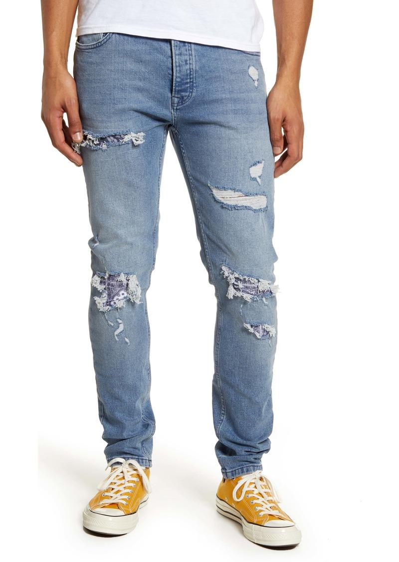 Topman Bandana Skinny Fit Stretch Jeans