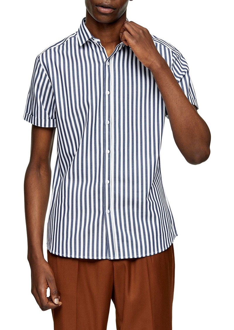 Topman Bengal Stripe Short Sleeve Button-Up Shirt