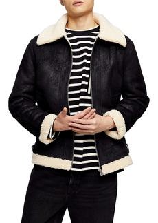 Topman Benny Tape Faux Fur Lined Jacket