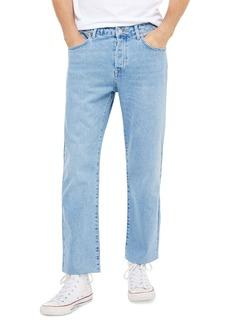 Topman Bleach Straight Leg Raw Hem Dad Jeans (Blue)