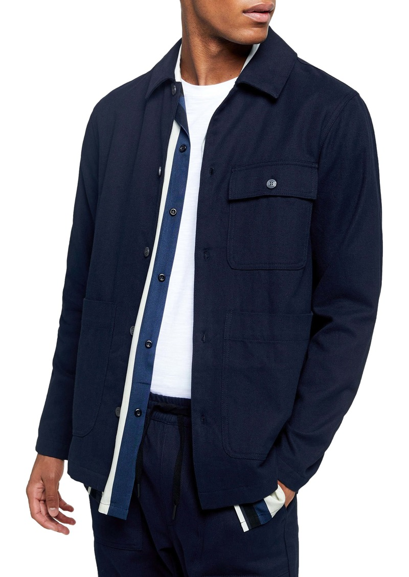 Topman Blue Button-Up Overshirt