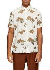 Topman Blurred Floral Short Sleeve Button-Up Shirt