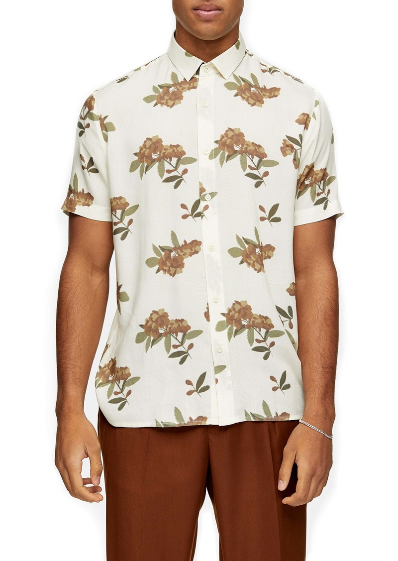 Topman Blurred Floral Short Sleeve Button-Up Shirt