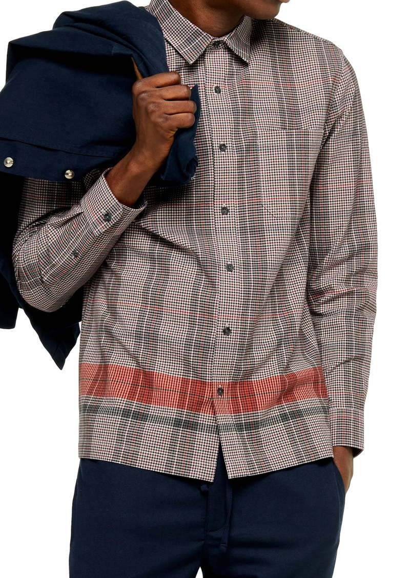 Topman Border Check Button-Up Shirt