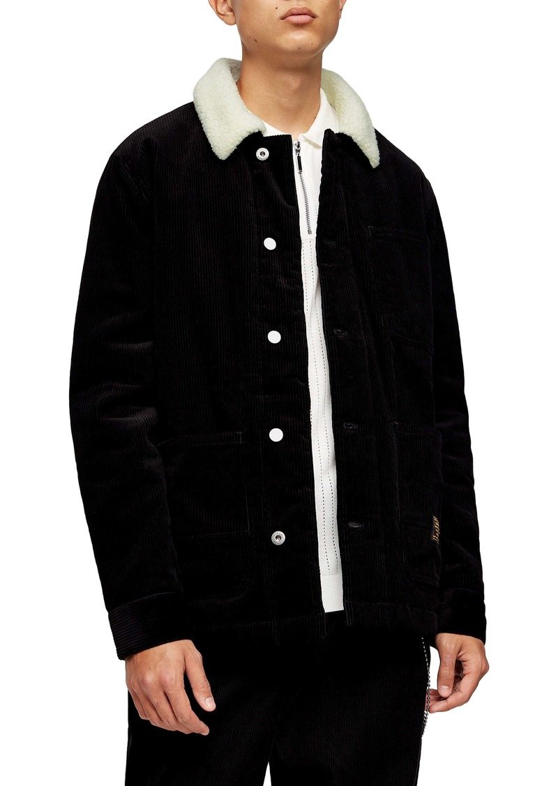 Topman Borg Faux Fleece Lined Corduroy Chore Jacket