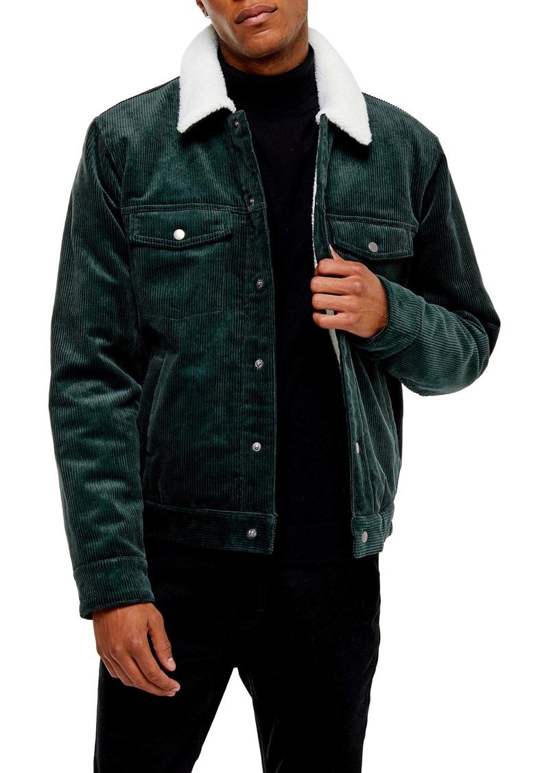 Topman Borg Faux Fleece Lined Corduroy Trucker Jacket