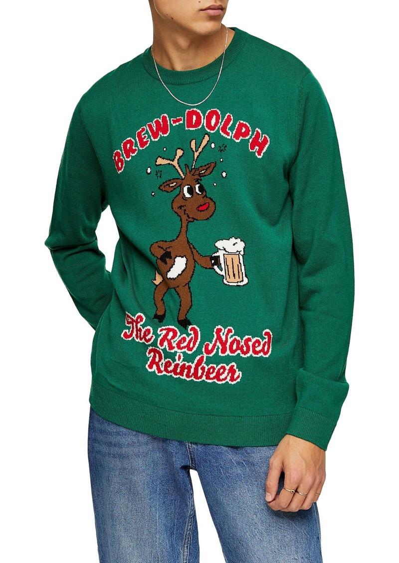 Topman Brew-Dolph Crewneck Sweater