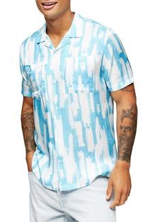 Topman Broken Brush Men's Short Sleeve Button-Up Camp Shirt