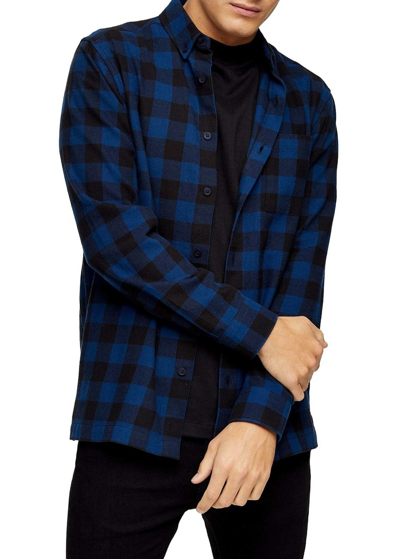 Topman Buffalo Check Button-Down Flannel Shirt