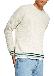 Topman Cable Knit Crewneck Sweater