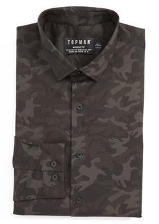 Topman Camo Print Dress Shirt