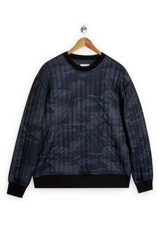 Topman Camouflage Quilted Crewneck Sweatshirt