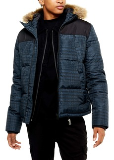 Topman Check Faux Fur Trim Puffer Coat