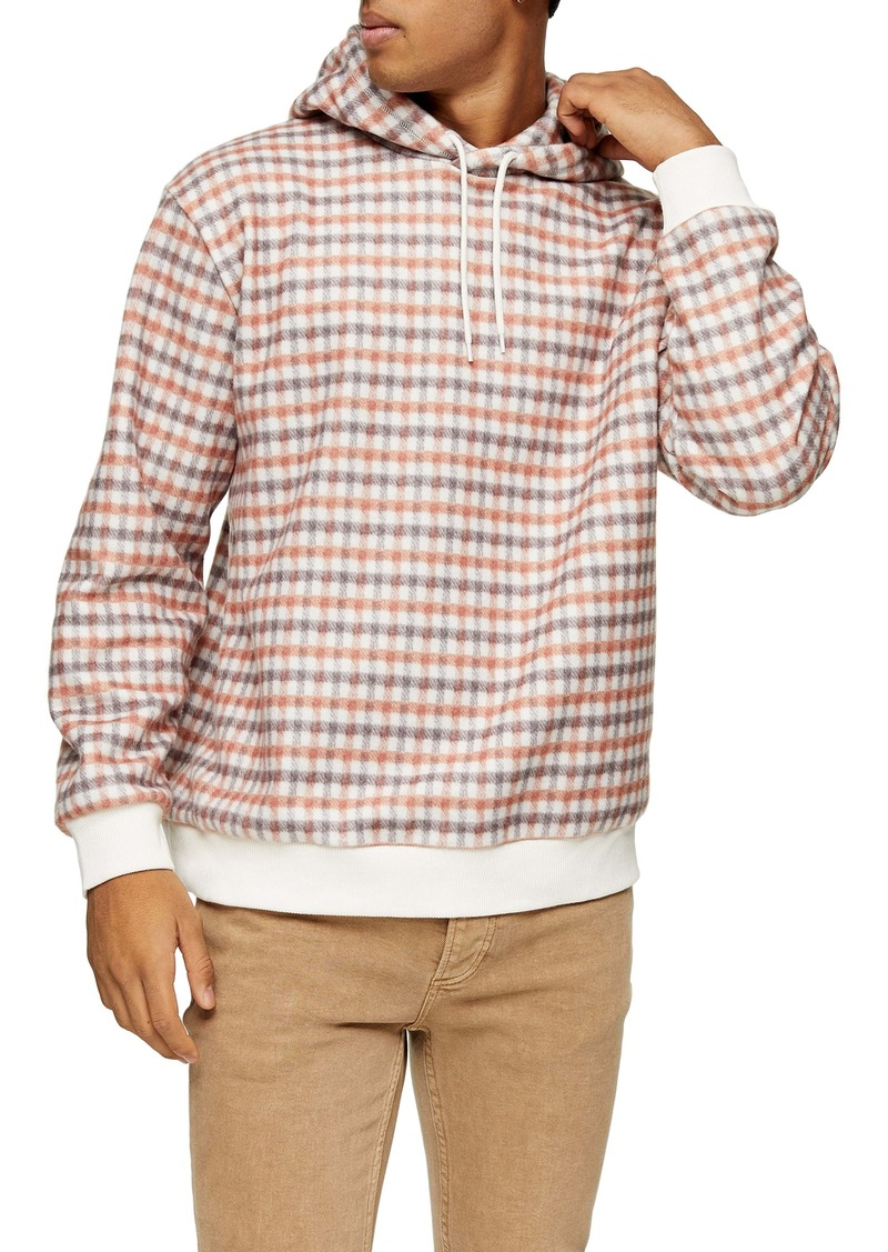 Topman Check Overhead Hooded Sweatshirt