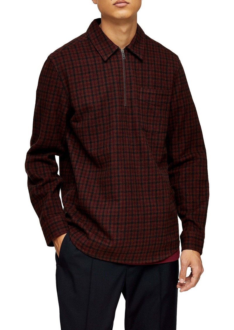 Topman Check Print Quarter Zip Shirt
