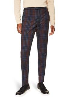 Topman Check Print Skinny Fit Trousers