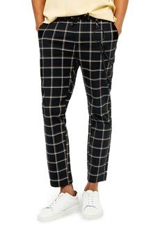 Topman Check Stretch Cotton Skinny Trousers
