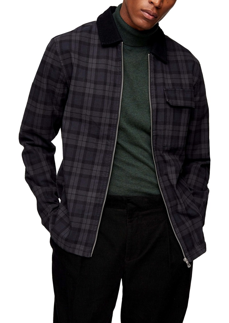 Topman Check Stretch Cotton Zip Shacket