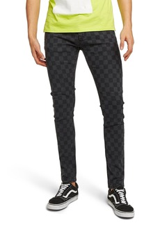 Topman Check Stretch Skinny Fit Pants
