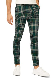 Topman Check Stretch Skinny Pants