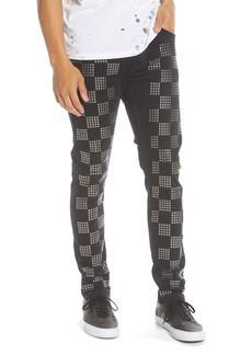 Topman Check Stud Skinny Fit Jeans