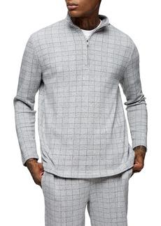 Topman Check Texture Quarter Zip Shirt