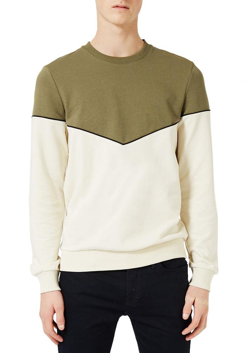 Topman Chevron Colorblock Crewneck T-Shirt