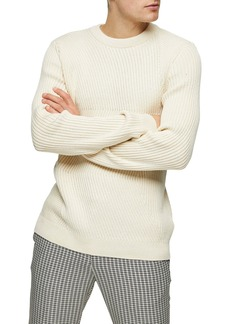Topman Chevron Ribbed Crewneck Sweater