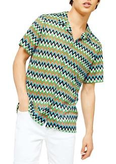 Topman Chevron Short Sleeve Button-Up Knit Camp Shirt