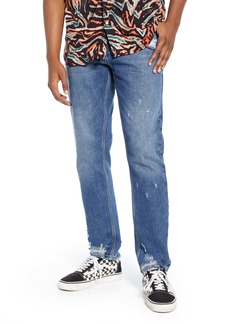 Topman Chi Damage Tapered Skinny Jeans (Blue)