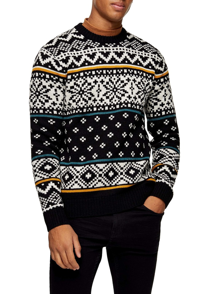 Topman Christmas Alpine Fair Isle Crewneck Sweater
