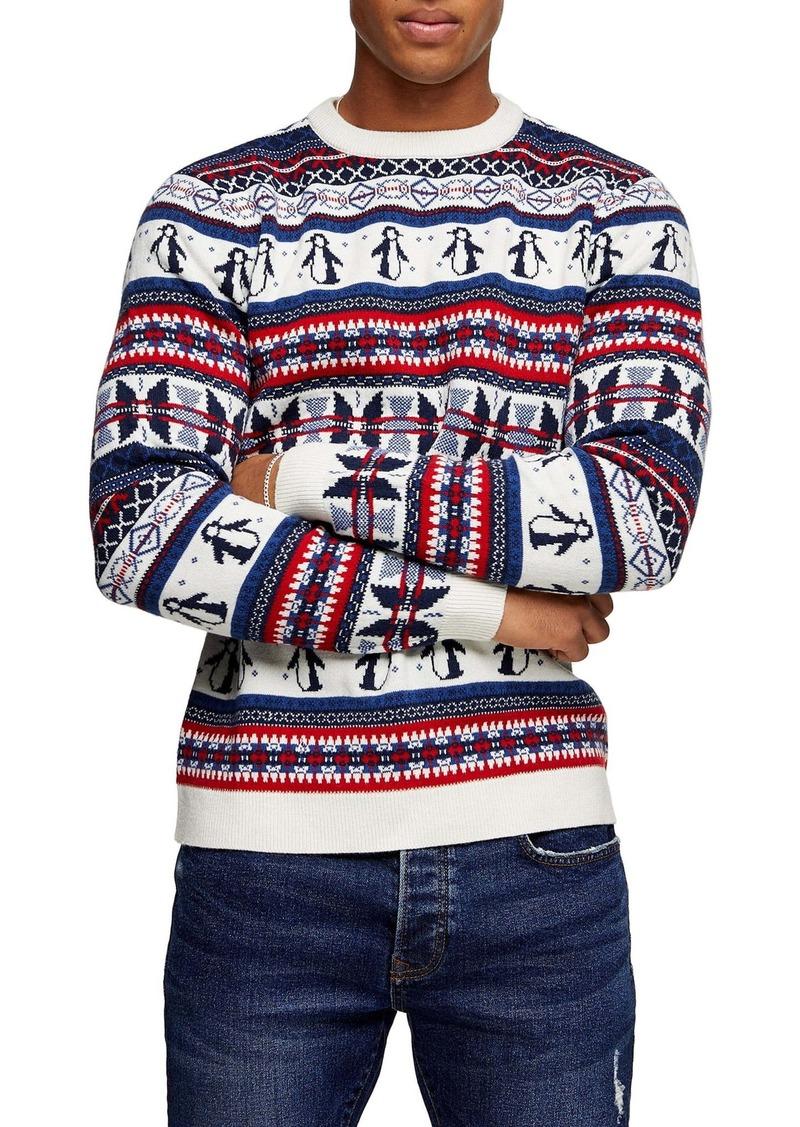 Topman Christmas Penguin Fair Isle Crewneck Sweater