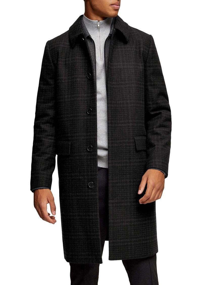 Topman Classic Fit Check Wool Coat