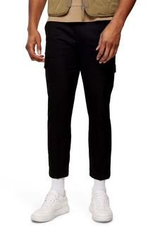 Topman Classic Fit Crop Twill Cargo Pants