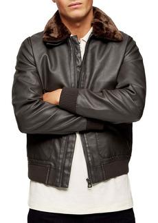Topman Classic Fit Faux Fur Collar & Faux Leather Flight Jacket