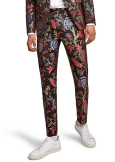 Topman Classic Fit Floral Print Suit Trousers