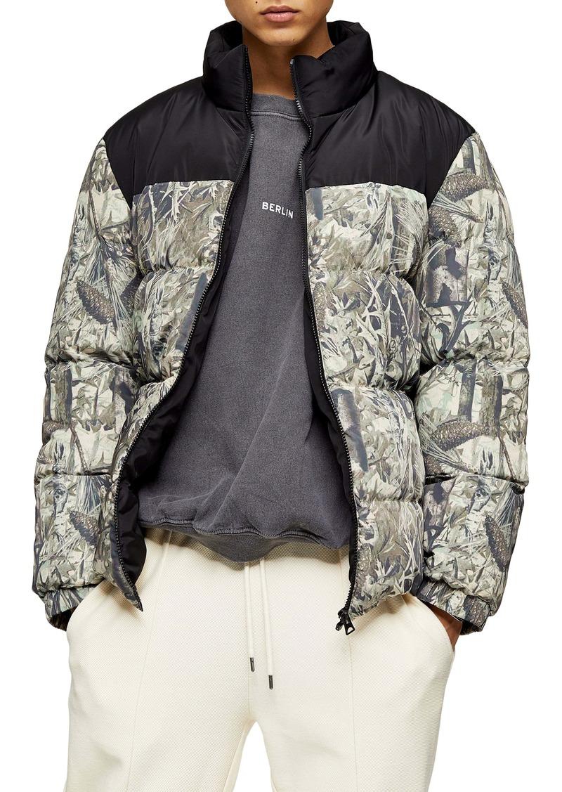 Topman Classic Fit Foliage Print Puffer Coat