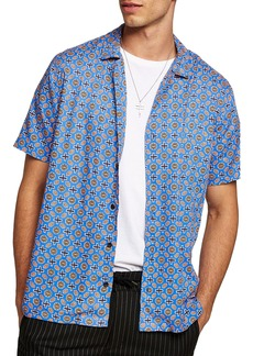 Topman Classic Fit Geo Print Woven Shirt