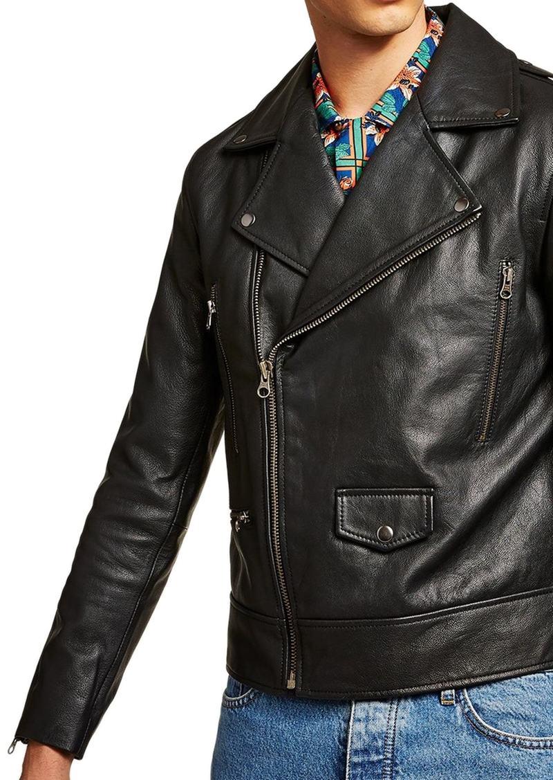 Topman Classic Fit Leather Biker Jacket
